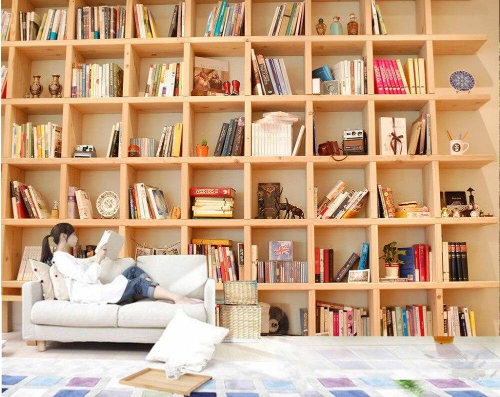 Behang Voor Muren Roll 3d Stereoscopische Behang Boekenkast Boeken