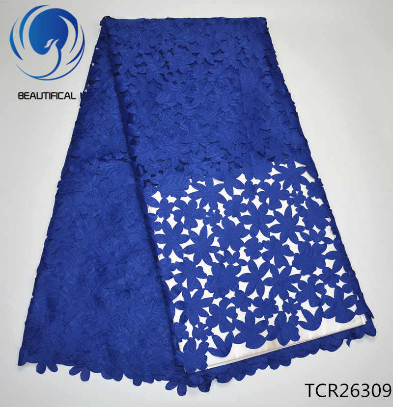 BEAUTIFICAL Blauw zwitserse voile kant stof 2017 Mode Lasersnijden Jacquard stof afrikaanse katoen voile kant stof TCR263