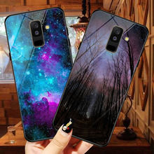 купить glass phone case For Samsung Galaxy A6 2018 SM A600 cases painted protective back cover case For Samsung A6 Plus 2018 A605 A605F онлайн