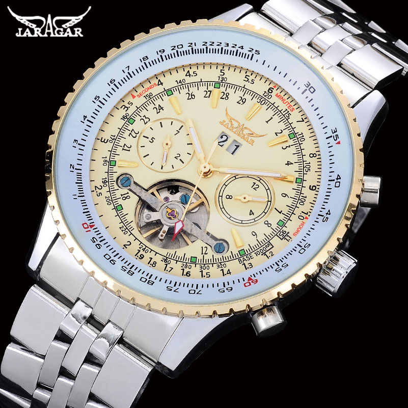 JARAGAR Brand Fashion Casual Mechanical Watch Men Stainless Steel Band Automatic Watches Luxury Tourbillon Auto-Calendar Clock men luxury automatic mechanical watch fashion calendar waterproof watches men top brand stainless steel wristwatches clock gift