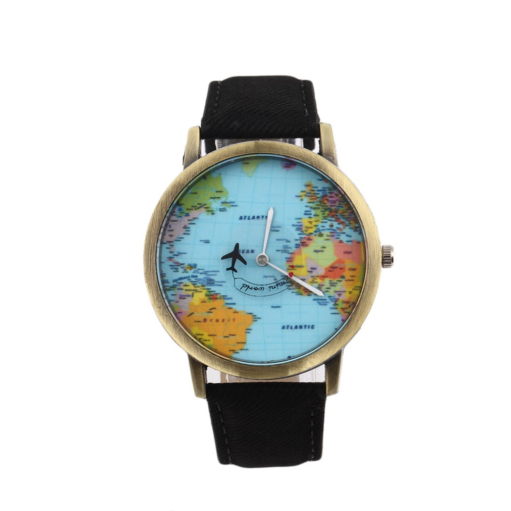 Vintage Women Dress Watches Men Travel By Plane Map Denim Fabric Band Watch funny pins simple watches best gift reloj hombre