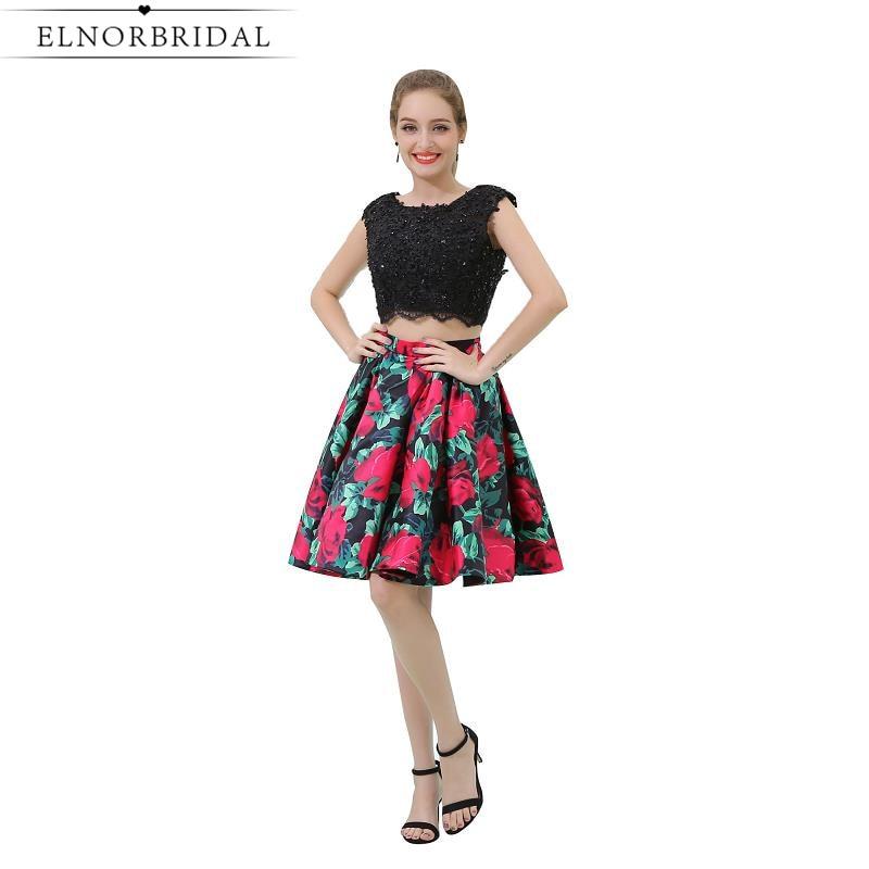 2019 Neue 2 Stück Cocktail Kleider Cap Sleeve Floral Print Vestido De Festa Curto De Luxo Sexy Mädchen Homecoming Party Kleid