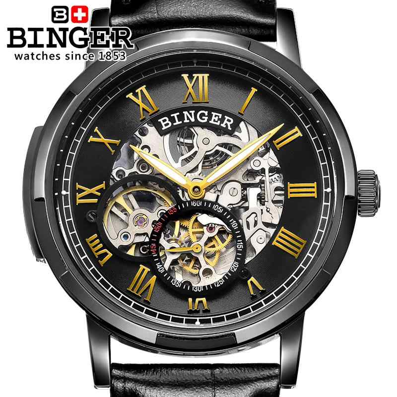076507bfbb93 ... Швейцария часы мужские роскошные Брендовые мужские часы Бингер световой  автоматический self-ветер Полный нержавеющая сталь ...