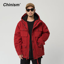 CHINISM Wine Red Multi Pockets Hooded Parkas Mens Winter Thick Warm Outwear Coats Loose Stylish Brand Hoodie Parkas