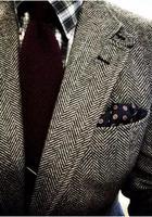 Slim Fit אדרה צמר טוויד כפתורים styleTwo בריטי Mens חליפות טוקסידו חייט חליפות חתונה לגברים (חליפה + מכנסיים)