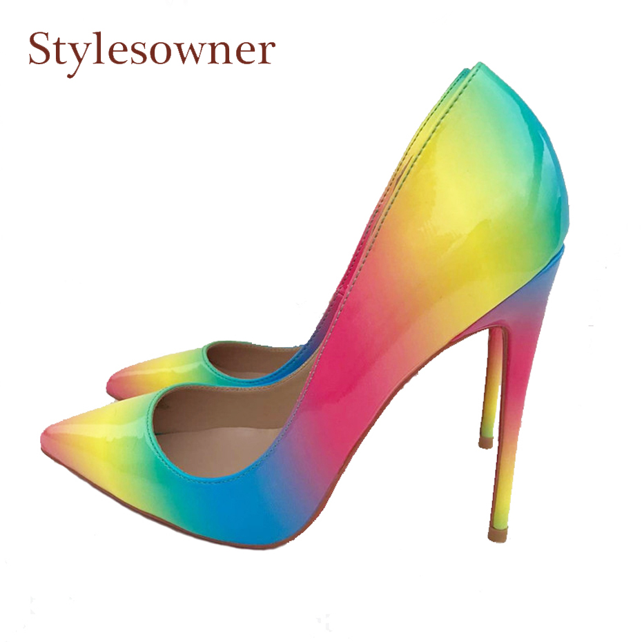 Stylesowner large size 34-43 women pumps sexy pointed toe 12cm 10cm 8cm thin heel shallow rainbow print ladies dress party shoes