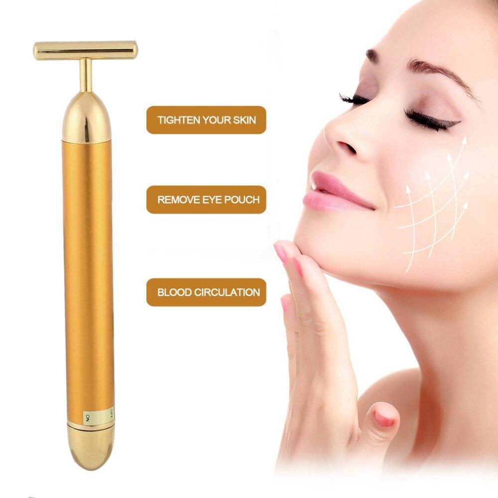 Energy Beauty Tool Facial Massager T Shape Facial Beauty Care Vibration Facial Beauty Massager Energy Vibrating Bar ysdx 663 electric ion facial beauty vibration massager red silver 1 x aaa