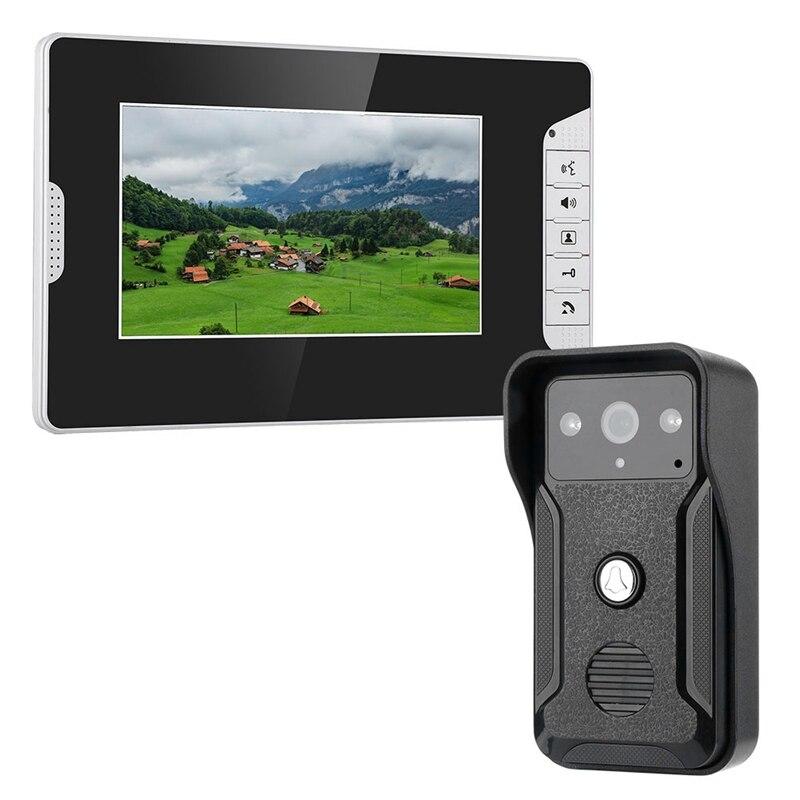 Mountainone 7-Inch Display Cable Video Phone Doorbell Infrared Rainband European Standard Plug Intercom System Black Abs+Alumi