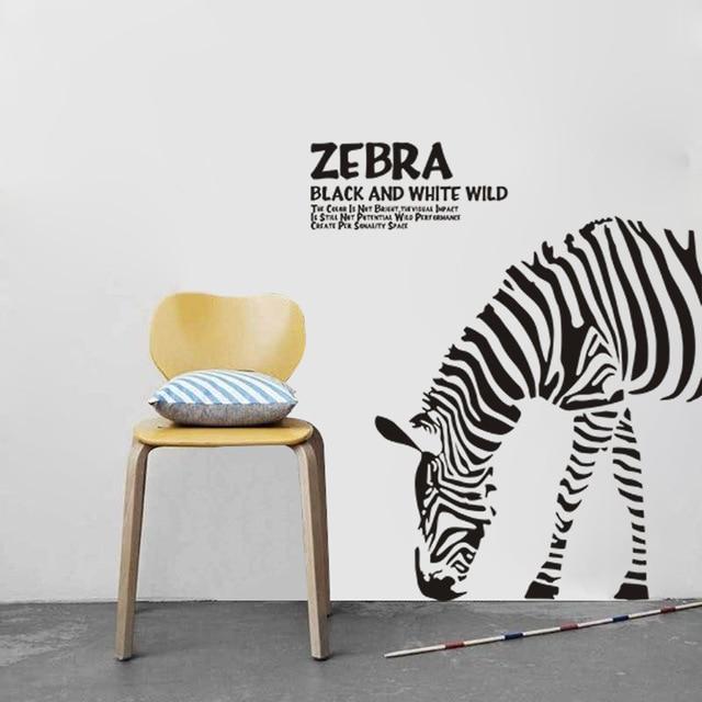 DIY Abstrakte Schwarz Weiß Zeichnungen Wandaufkleber Fashion Dekorative  Aufkleber Zebra Kopf Nach Links