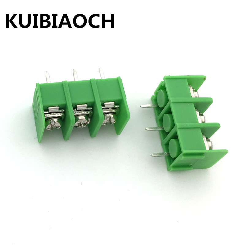 200pcs/lot KF7.62 3PIN 7.62mm pitch connector KF7.62-3P pcb screw terminal block connector 3pin