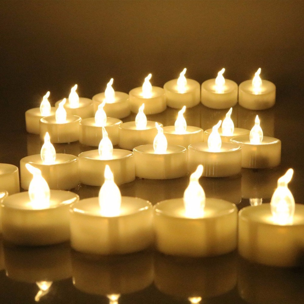 Pack Of 12 Timer Flickering Battery Tea Lights Warm White