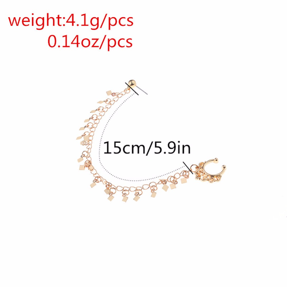 HTB1N7VpSFXXXXbvXFXXq6xXFXXX3 Nose to Ear Ring - No Pierce Clip on Fashion Jewelry