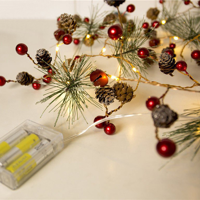 12M Christmas Tree LED Copper Wire String Christmas Pine Cones String Starry Lights String Shop Outdoor Decorative String Lights