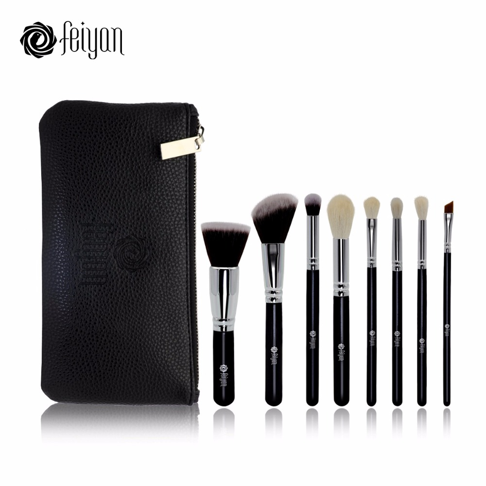 FEIYAN 8pcs Pro Makeup Brushes Set Natural Goat Synthetic Hair With Zip PU Pouch Eyeshadow Foundation Blush Eyebrow Cosmetic Kit