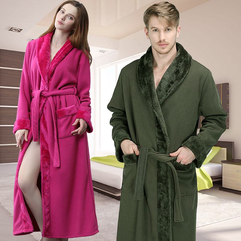 Online Shop Men Plus Size Extra Long Thick Fleece Warm Bathrobe ...
