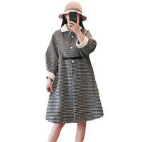 Large Size 5XL Women's Wool Coat 2018 Autumn Winter New Houndstooth Coat Waist Female Long Thick Plaid Woolen Jacket LQ491