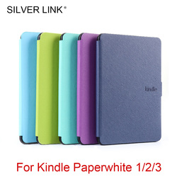 Enlace de plata 1X Kindle Paperwhite123 PU caso Multicolor Foux cubierta de cuero para Kindle piel Auto dormir/despertar Shell duro protector