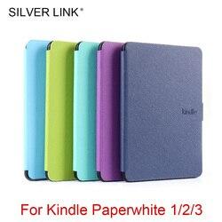 LIGAÇÃO DE PRATA 1X Paperwhite123 PU Caso Kindle Multicolor Foux Pele Auto Sono Capa De Couro Para Kindle/Despertar Casca Dura protetor