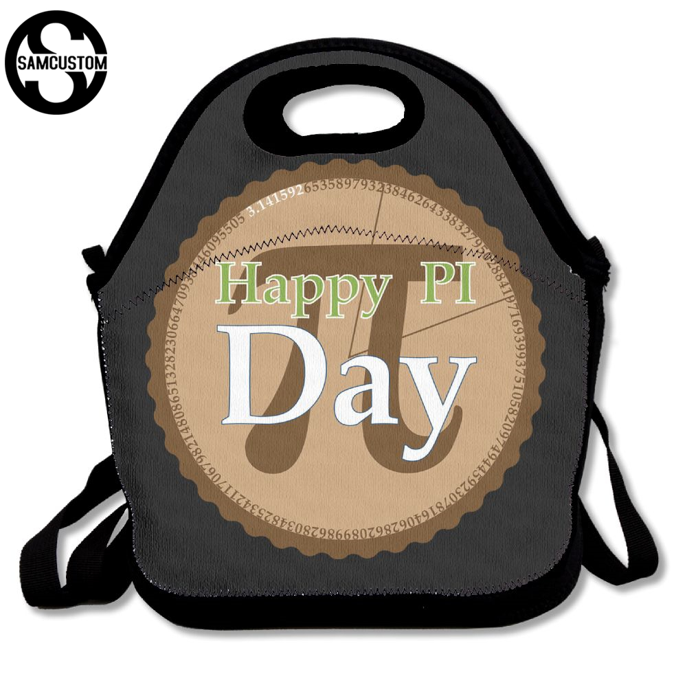 SAMCUSTOM 3D Print happy pi day Lunch Bags Insulated Waterproof Food Girl Packages men and women Kids Babys Boys Handbags