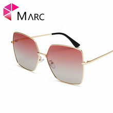 MARC Polarized Women Sunglass Metal Unregular frame Wrapped Gradient Eyeglasses Driving Fashion Glasses Personality New 1