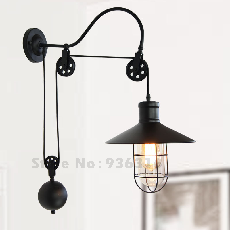 E27 lamp base vintage industrial birdcage warehouse pulley metal e27 lamp base vintage industrial birdcage warehouse pulley metal wall sconces matte black painting adjustable wall lamp in wall lamps from lights lighting mozeypictures Images