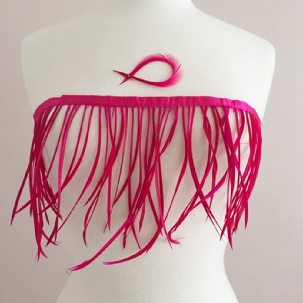 free shipping 5 yard hot pink dyed High quality goose feather trims 15-20cm on satin header for DIY crafts making