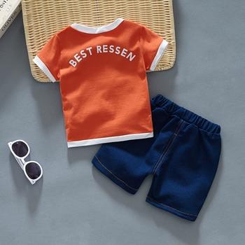Newborn Baby Boy White Shirt And Blue Short 2Pcs Clothing Set 2