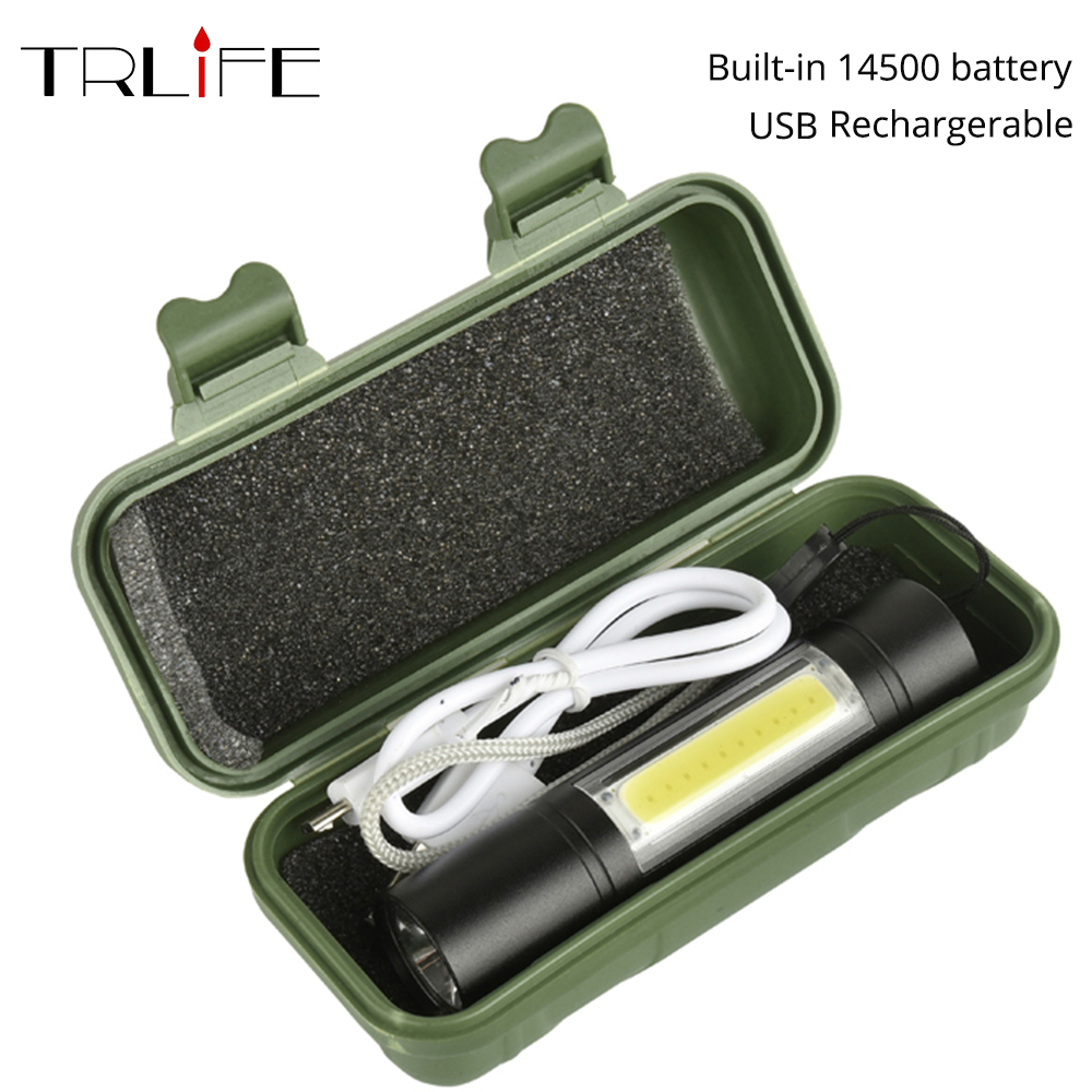 3800LUMS Built-in 14500 USB rechargeable Mini Led Flashlight Q5+COB 3modes Flashlights Indoor or Outdoor Usefor fishing 2016 new products cheap china feie brand invisible digital hearing aid audiofone amplificador de surdez s 10a audifono with a10