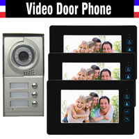 3 Units Apartment Video Door phone System 7 touch Monitor Video Intercom Aluminum Alloy Camera for 3 households video Doorbell