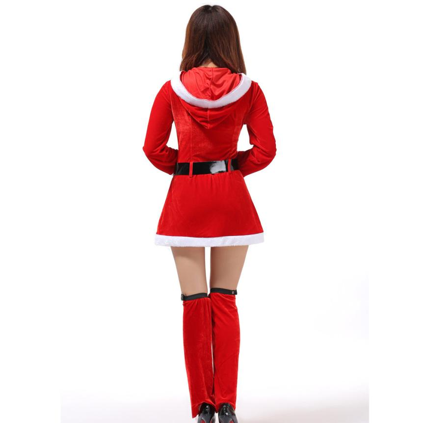 VOT7 vestitiy Ladies Santa Hooded clothing+Belt+Leg Loops Costume Women Christmas Party  ...