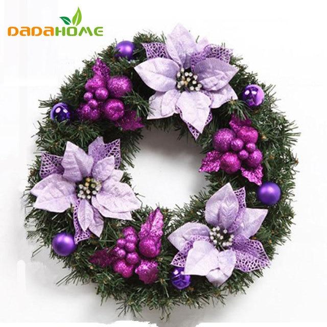 Christmas Tree Decoration Artificial Flowers Christmas Decoration Scene Layout Christmas Wreath Door Wreath purple