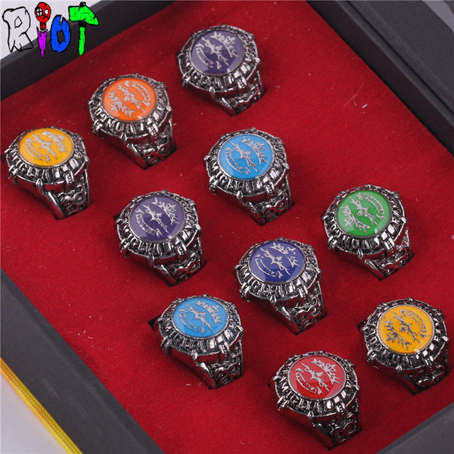 Anime Hitman Reborn 10 style ring sets with box colorful rainbow