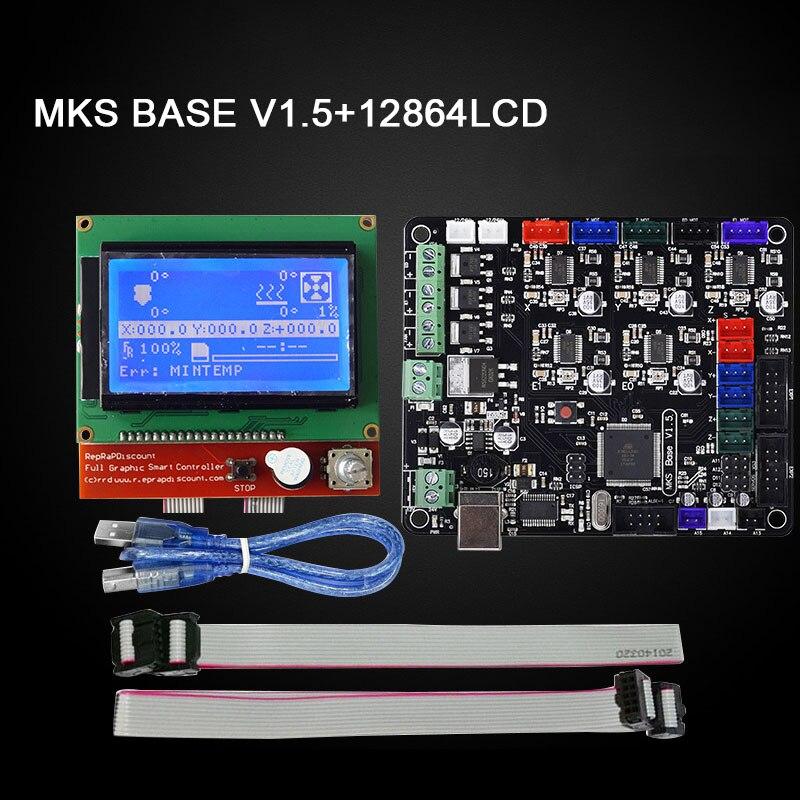Imprimante 3D partie MKS BASE V1.5 carte mère + 12864 LCD écran panneau de commande Kit pour Ramps1.4 @ JH