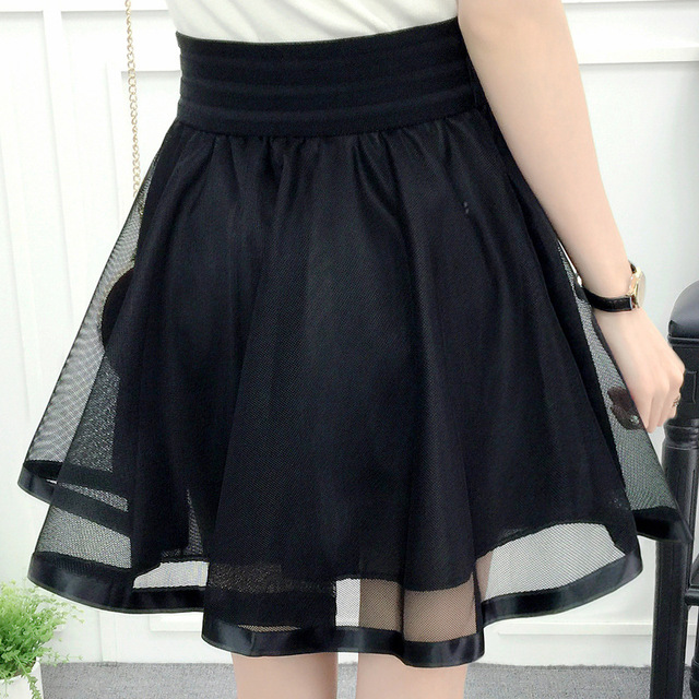 Puff Mini Tutu Lace Tulle Skirt High Waist