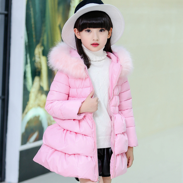 2016 new girls down coat kids female children caots jacket for child outer wear Pulling rope hooded big fur collar warm clothes