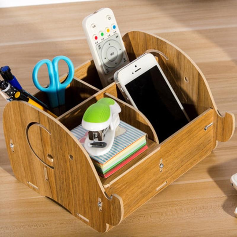 Multiple optional Creative Wooden Storage Fashion Elephant Shape Pen Office Pen Holder DIY Storage Box