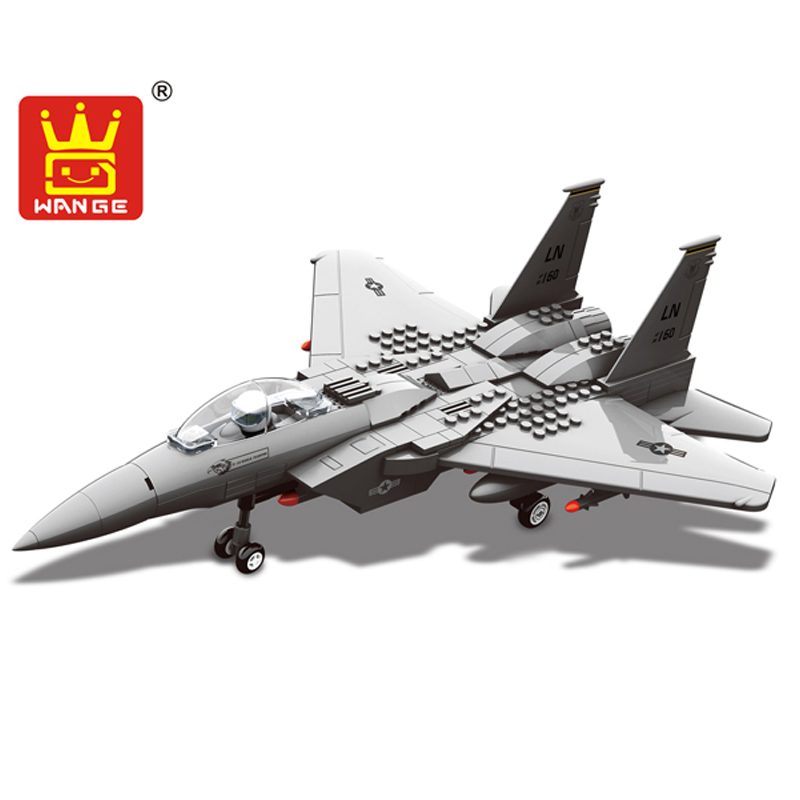 270pcs Fighter Building Blocks Wange Block Creative Bricks Toy Enlighten Building Blocks Bricks Compatible With Lego Plane F15 free shipping plate 2x4 diy enlighten block bricks compatible with lego assembles particles