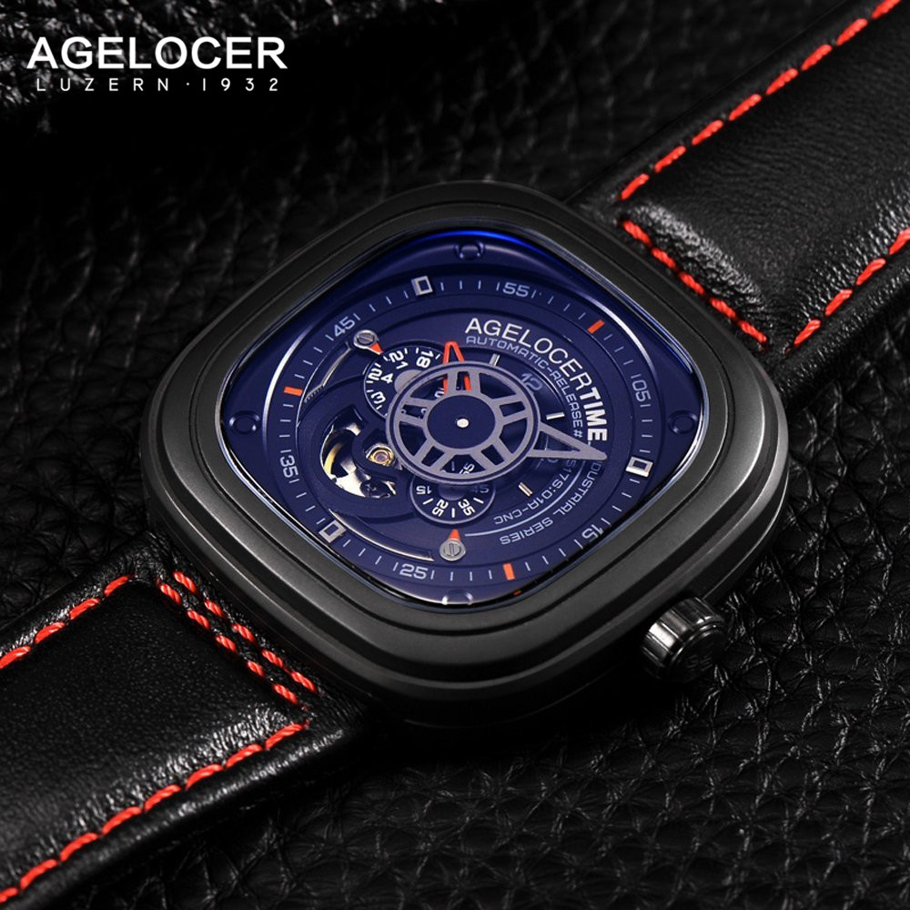 Agelocer Luxury Brand Automatic Skeleton Watch Mens Genuine Leather Sapphire Glass Dress Sport Wrist Watches For Men Gold figure orkina luxury brand wrist watch sport men genuine leather tourbillion mechanical watches cool dress watch gift for male box