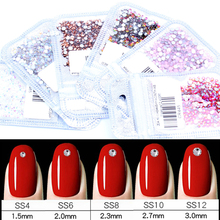 Стразы для дизайна ногтей, 400 шт, микс из SS4-SS12, стеклянные стразы с плоской задней стороной, Стразы для ногтей, 3D украшения