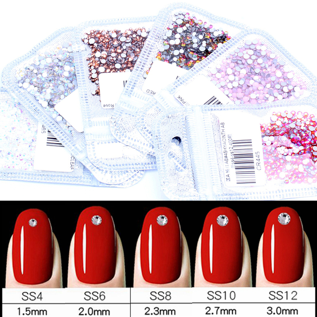 Nail Art Rhinestone 400pcs Mix of SS4-SS12 Glass Flatback Crystals Non Hotfix Nail Rhinestones For Nails Art 3D Decorations
