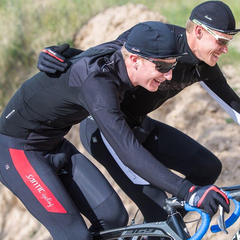 купить Santic Men Cycling Winter Bib Pants 4D Padding Cushion Winter Cycling Pants Warm MTB Bib Long Pants Fleece M7C04094 по цене 6412.16 рублей