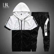 Summer Hoodies Men 2019 Casual Hooded Short Sleeve Sweatshirts Male Thin Tracksuit 2PC Hoodies+Shorts Men Moleton Masculino