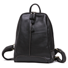 Retro Women Fashion Genuine Leather Backpack Top Cowhide Soft Daypack Designer Zipper Small Bag Ladies Simple PU Packsack