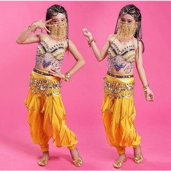 Children kids team Belly Dance Costumes Set Belly Dancing Bra Belt Pants 3Pcs Set Indian Bellydance Practice Clothing wear