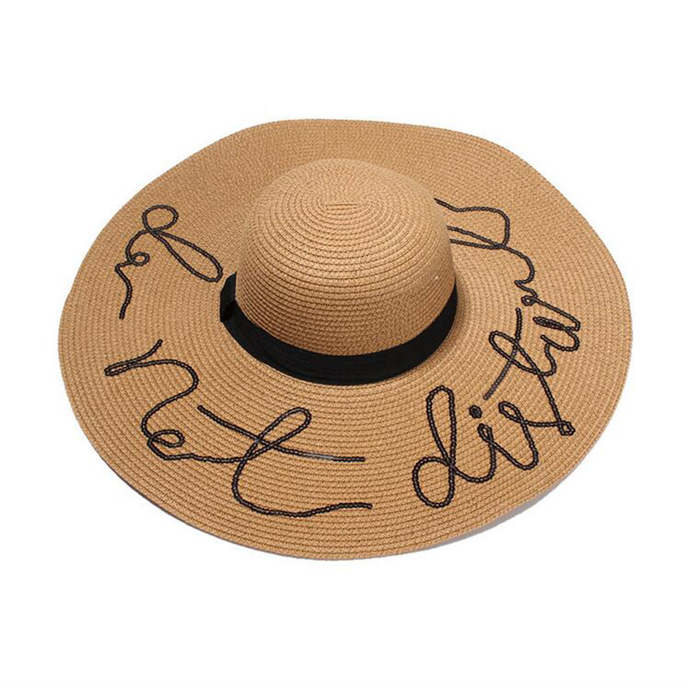 685d5393 Large Wide Brim Hats Sequins Letter Do Not Disturb Straw Floppy Sun Hats  For Women Fashion Female Summer Hats Ladies Beach Hats-in Sun Hats from  Apparel ...