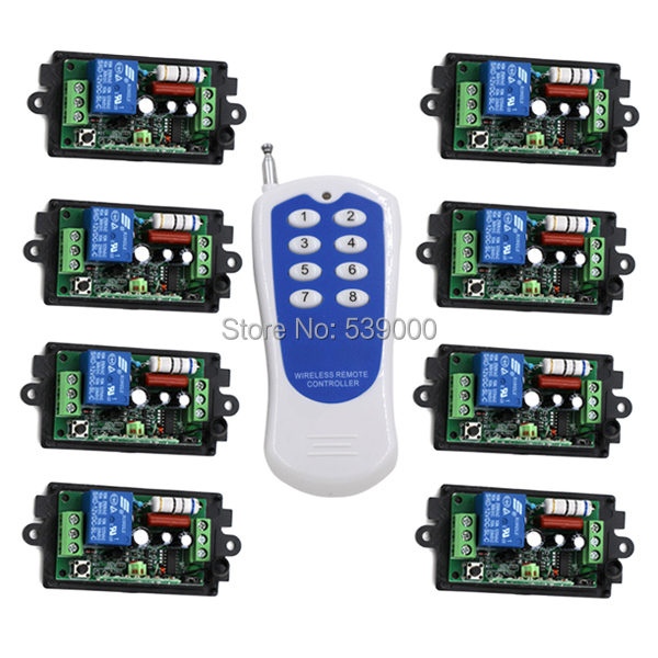 AC220V 1 CH 1CH RF Wireless Remote Control Switch System,8CH Transmitter + 8 X Receivers,Toggle/Momentary,315/433.92 2 receivers 60 buzzers wireless restaurant buzzer caller table call calling button waiter pager system