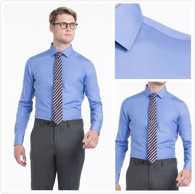 new arriving 100% cotton solid royal blue with spread collar and button cuff slim fit camisas hombre