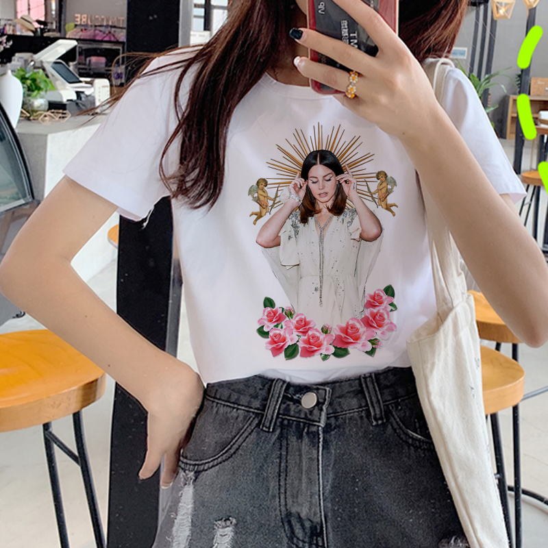 Lana Del Rey Harajuku Ullzang T Shirt Women Funny Print Fans T-shirt 90s Graphic Aesthetic Tshirt Korean Style Top Tees Female