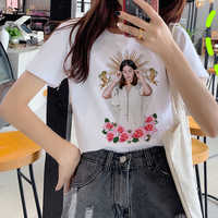 Lana Del Rey Harajuku Ullzang T Shirt mujeres divertida impresión Fans camiseta 90s gráfica estética Camiseta estilo coreano Top camisetas de mujer