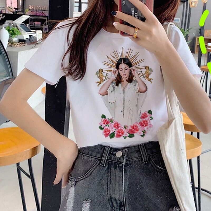 Lana Del Rey Harajuku ulzang camiseta mujer divertida impresión camiseta de fans 90s gráfico estético Camiseta estilo coreano camisetas superiores Mujer